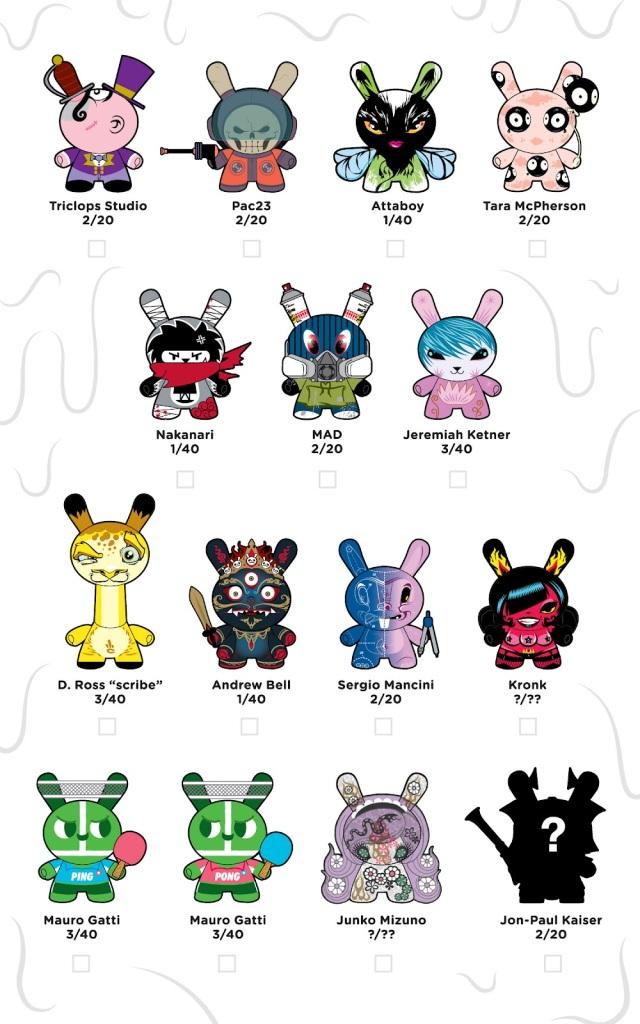 Kidrobot Official Dunny Series 2012 Checklist & Ratios